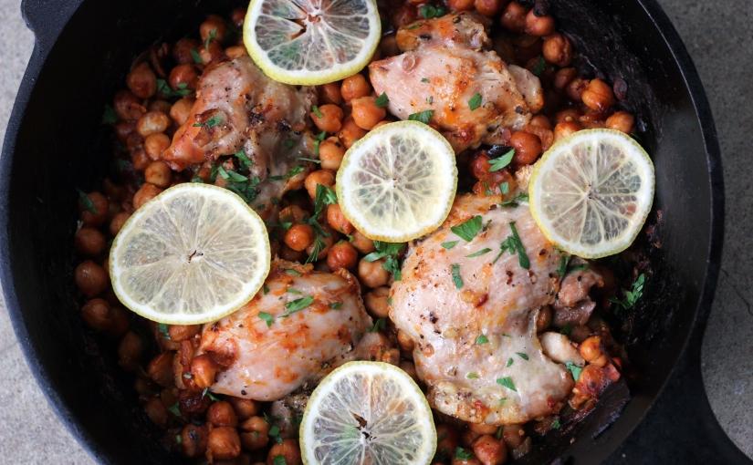 one pot chickpea + chicken thighdinner