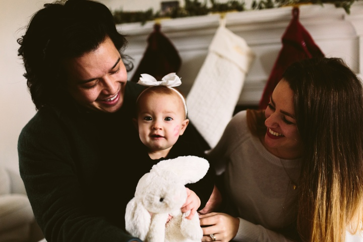 mila's first christmas photos